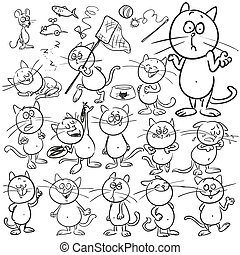 dibujado, conjunto, cats., mano