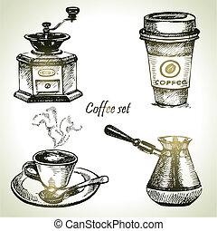 dibujado, conjunto de café, mano