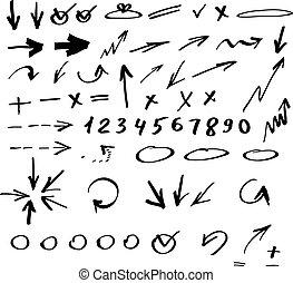 dibujado, conjunto, flechas, mano