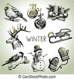 dibujado, conjunto, invierno, mano, navidad
