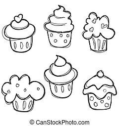 dibujado, conjunto, mano, cupcake