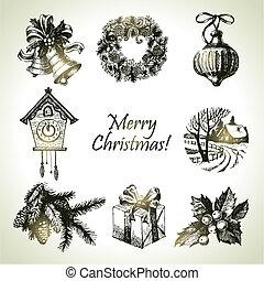 dibujado, conjunto, navidad, mano