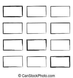dibujado, conjunto, square., mano