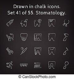 dibujado, conjunto, stomatology, icono, chalk.