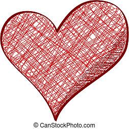 dibujado, corazón