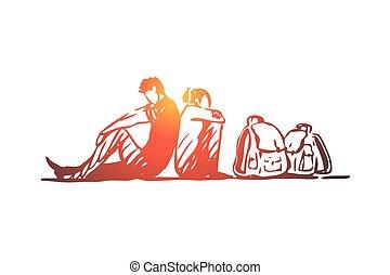 dibujado, familia , aislado, bolsas, mano, ilegal, migrant, crisis, concept., vector.