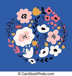 dibujado, flowers., mano, fantasía