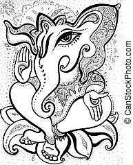 dibujado, ganesha, illustration., mano