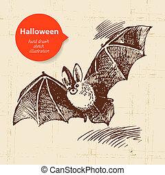 dibujado, halloween, ilustración, mano