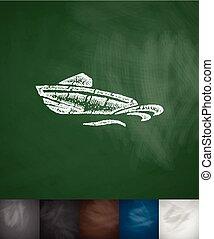 dibujado, icono, barco, Ilustración, mano