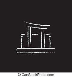dibujado, icono, puerta de torii, chalk.