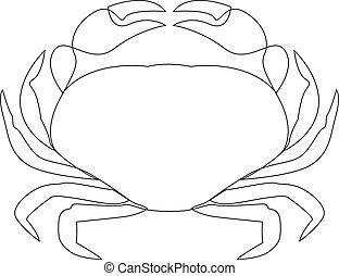 dibujado, línea, uno, ilustración, cangrejo