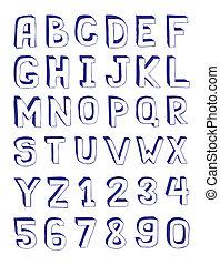 dibujado, mano, alfabeto