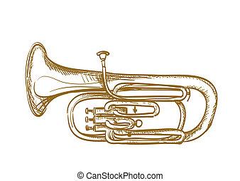 dibujado, mano, baritone, cuerno