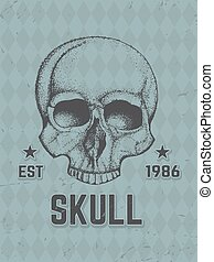 dibujado, mano humana, skull.