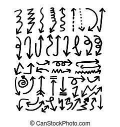 dibujado, mano, icono flecha