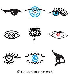 dibujado, mano, ojo, iconos