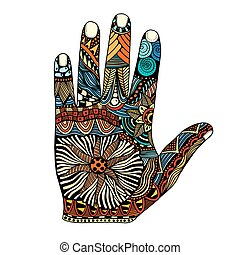 dibujado, mano, palma, zentangle
