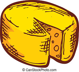 dibujado, mano, queso