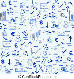 dibujado, mano, seamless, finanzas, iconos