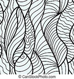 dibujado, mano, seamless, patrón