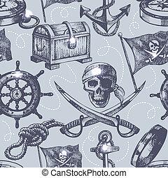 dibujado, mano, seamless, pirata, patrón
