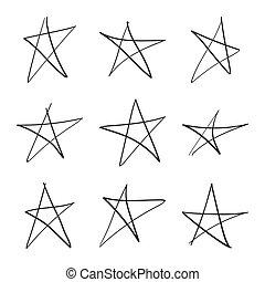 dibujado, mano, star., conjunto