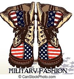 dibujado, moda, militar, botas, mano