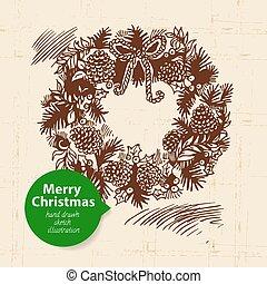 dibujado, navidad, plano de fondo, ilustración, mano