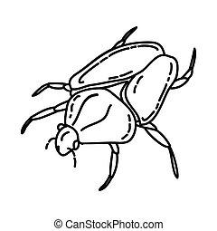dibujado, o, icono, estilo, icon., mano, escarabajos, garabato, contorno, goliath