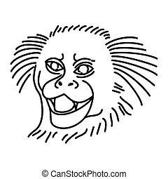 dibujado, o, mono tití, icono, estilo, icon., mano, garabato, contorno