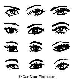 dibujado, ojos, colección, mano