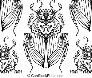 dibujado, patrón, tribal, scarab., seamless, mano, vector, ...