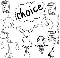 dibujado, persona, elaboración, opción