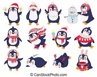 dibujado, pingüinos, saludos, alegre, penguin., ártico, vector, ropa de calle, animales, invierno, navidad, ropa, niños, caricatura, sombrero, conjunto de mano, lindo