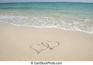 dibujado, playa de arena, dos corazones