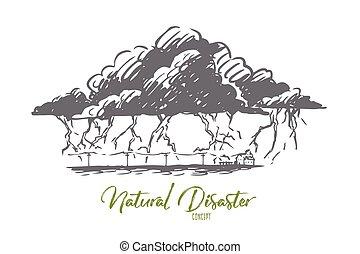 dibujado, relámpago, aislado, nube, concept., huelga, tormenta, tormenta, vector., mano