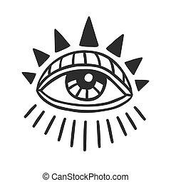 dibujado, sacral, ojo, mano