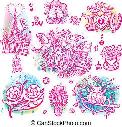 dibujado, sketchy, conjunto, amor, mano
