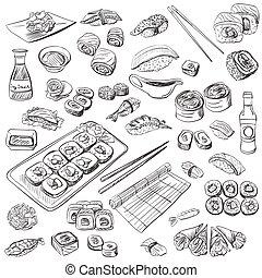 dibujado, sushi, conjunto, mano