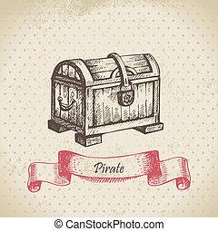 dibujado, tesoro, chest., ilustración, mano