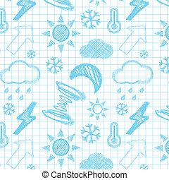 dibujado, tiempo, pattern., seamless, mano