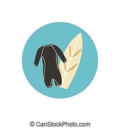 dibujado, traje, cometa, o, oleaje, icono, board., deporte, mano, illustration., aislado, largo, mojado, tabla de surf, reflejos
