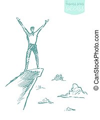 dibujado, vector, éxito, trepador, hombre, montaña, bosquejo