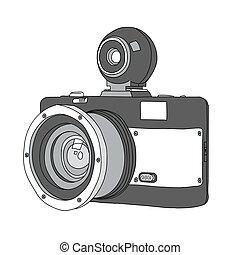 dibujado, vector, cámara, mano