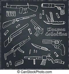 dibujado, weapons., conjunto de mano