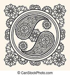 dibujado, yin-yang, señal de mano