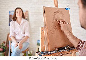dibujo, artista