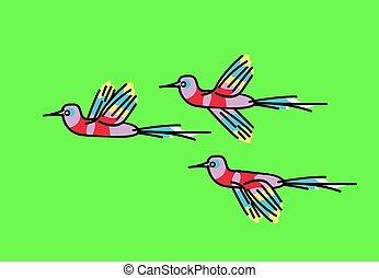 dibujo, aves, exótico, vector, ramo, illustrations., verde, fondo.