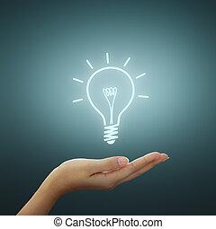 dibujo, bombilla, luz, idea, mano